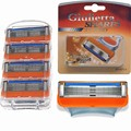 4PCS/ Lot Orange New Packaging Men 5 Layers Razor Blade Sharp&Safety Compatible Replacement Cartridges For Men.