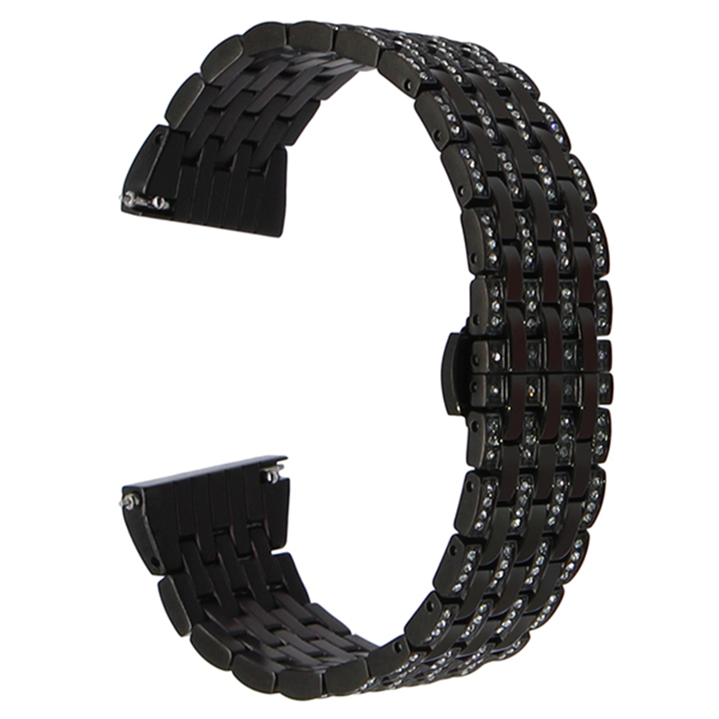 22mm Rhinestone Diamond Watchband for Samsung Gear S3 Classic Frontier Quick Release Watch Band Crystal Steel Wrist Strap BLACK цена