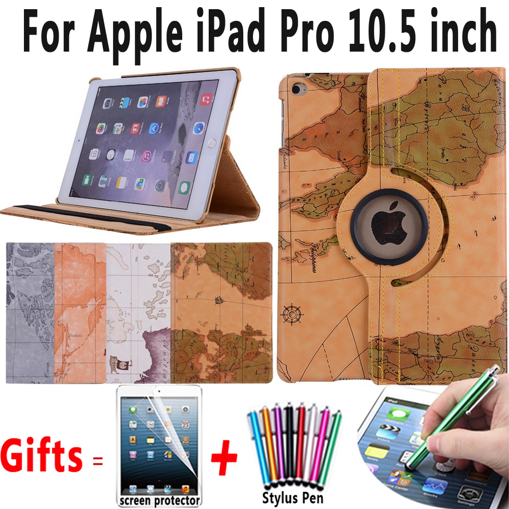 Map Smart Case for iPad Pro 10.5 PU Leather 360 Rotating Stand Tablet Protector for Apple iPad Pro 10.5 A1701 A1709 Case Cover for ipad pro 10 5 case 2017 pu leather silicone soft back slim smart cover for apple ipad 2017 pro 10 5 inch case a1701 a1709