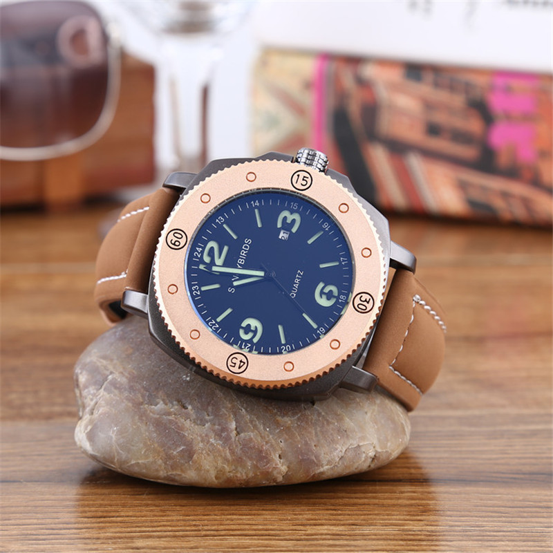 SANCYBIRDS Mænds Watch Top Fashion Brand Mandlige Læder Strap Large Dial Vandtæt Ur Business Lysende ure Hot Sale