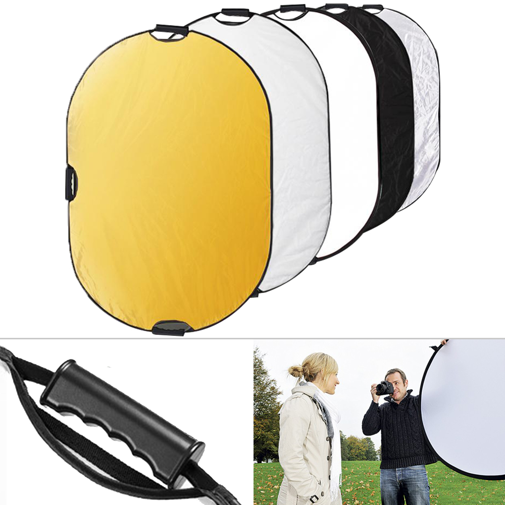 "5 in 1 80x120cm 31""*47"" Studio Photo & Outdoor Photography Lighting Portable Handle Round Collapsible Multi-Disc Light Reflector"
