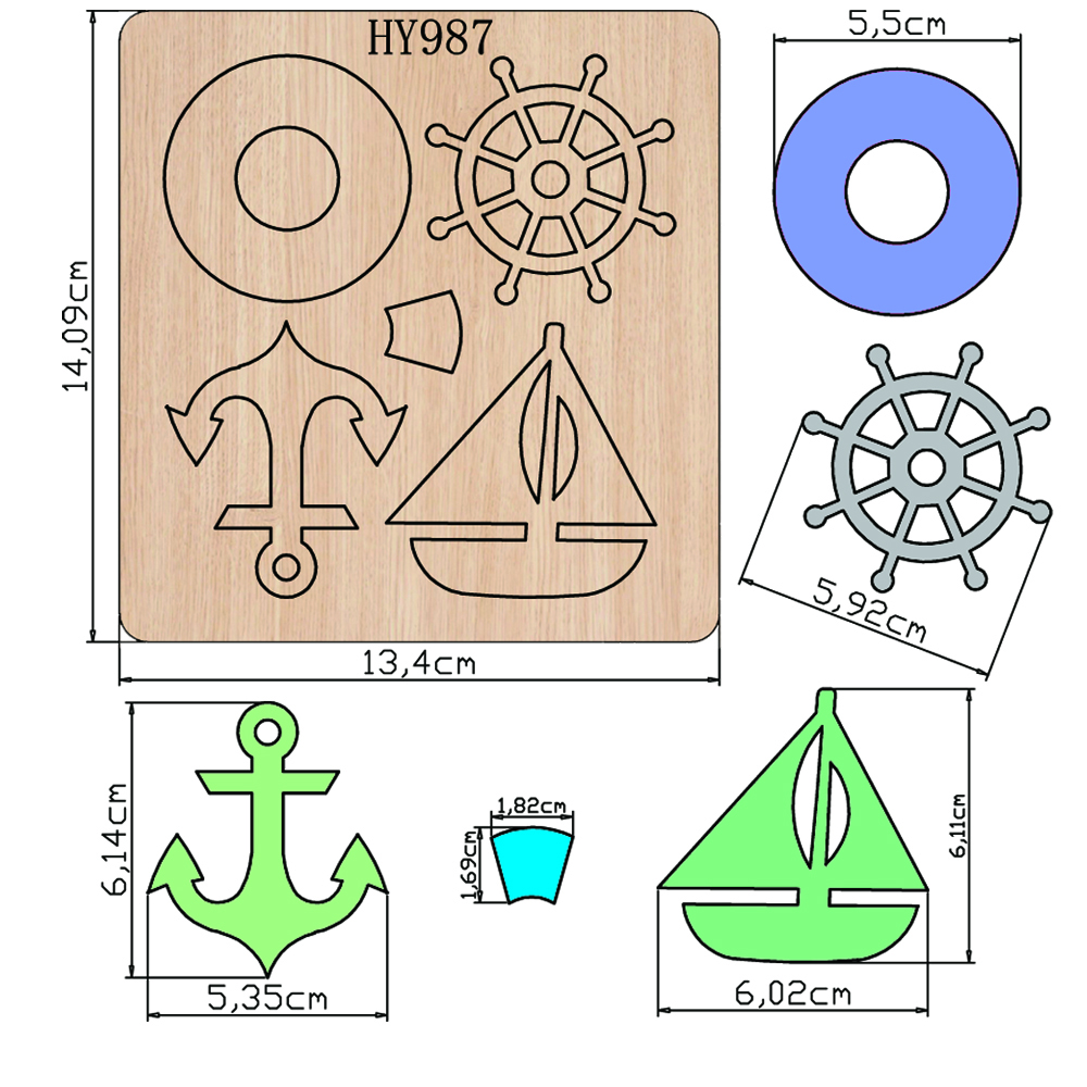 Sailor Pendant Cutting Dies 2019 New Die Cut &wooden Dies Suitable For Common Die Cutting Machines On The Market