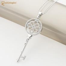 MEIDIJINGBEI beautiful key long necklace silver low profile luxury jewelry crystal choker pendant ladies wedding jewelry