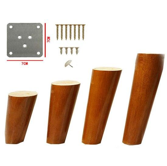 4pcs/lot Furniture Legs Wooden Table Legs Solid Oak Wood Sofa Tea Cabinet Kitchen Furniture Foot Walnut Color Incline Cone B526