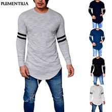 Men Hot Sale Fashion Fitness T-Shirt Bodybuilding Long-Sleeve Muscle Basic Print Blouse Tee Shirt Top Casual T-Shirt