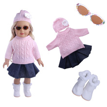 Fleta 5 PCS Set Doll Clothes Outfit Top+Denim Skirt+Hats+Glasses+Boots for 18 inch American  Many Style Choice