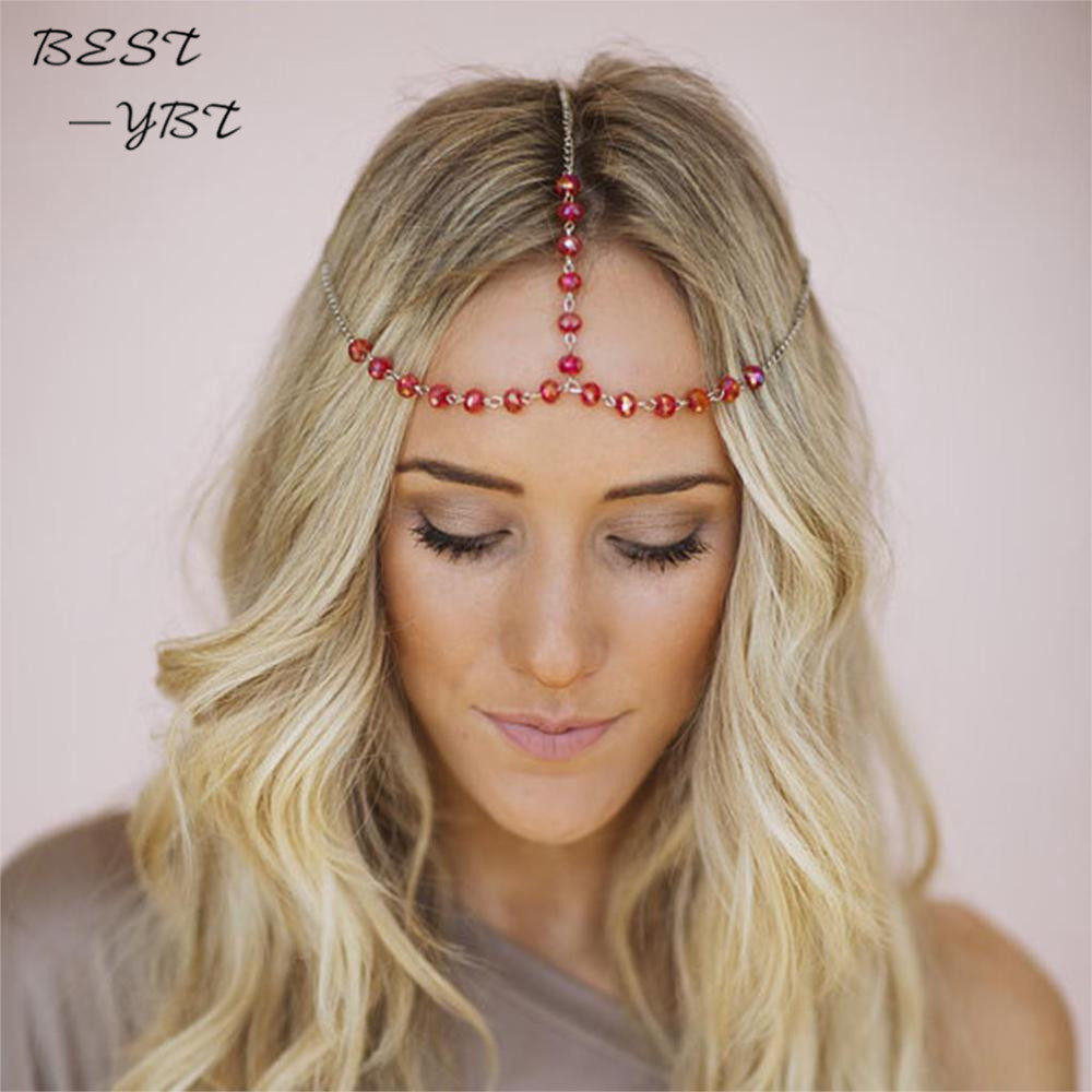 Boho Women Crystal Pendant Alloy Hair Band Headband Head Chain Hair Accessory