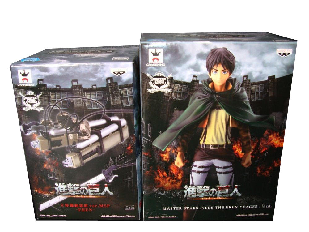 Japan Anime Attack on Titan Original BANPRESTO Master Stars Piece / MSP Figures - Eren Yeager + 3D Maneuver Gear japanese anime poke death note attack on titan one piece game ow short wallet with coin pocket zipper poucht billetera