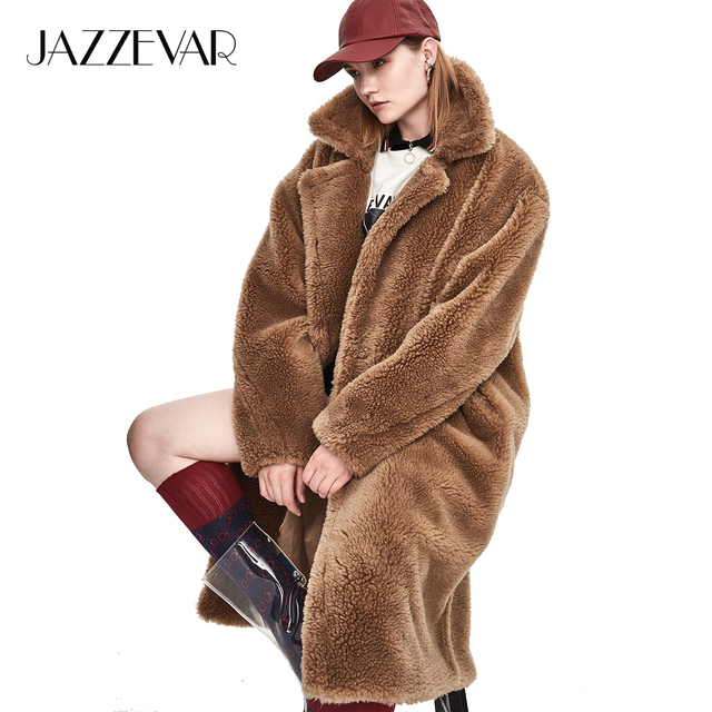 JAZZEVAR 2018 Winter New Fashion Womens Teddy Bear Icon Coat X-Long Real Sheep Fur Oversized Parka Thick Warm Outerwear