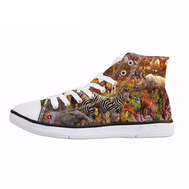 NOISYDESIGNS Men's High Top Vulcanize Shoe 3D Animal Zoo Print Comfort Lacing Canvas Shoes for Teens Fashion Flat Shoes Sneakers