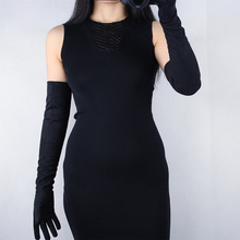 2018 Fashion Lady Suede Gloves Black Matte Sanded Simulation Leather Without Lined WomenS Long Section 60cm TB24