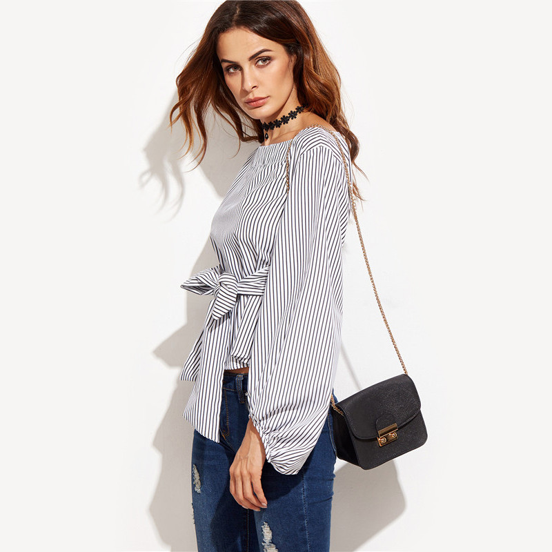 Black and white striped long sleeve womens tops westmk for Black and white striped long sleeve shirt women