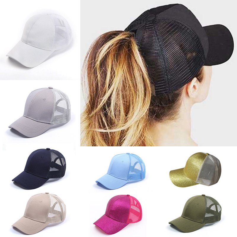2018 Glitter Ponytail   Baseball     Cap   Women Snapback Hat Summer Messy Bun Mesh Hats Casual Adjustable Sport   Caps   Drop Shipping