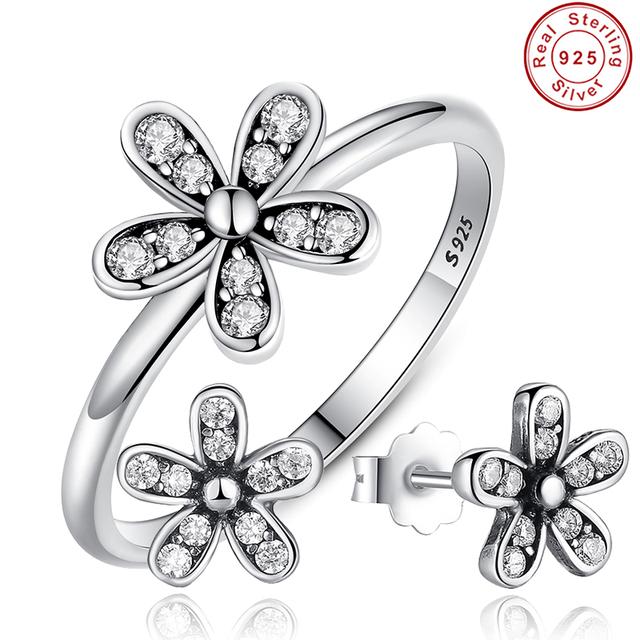 Conjuntos de Jóias Authentic 925 Sterling Silver Dazzling Margarida Stud Brincos & Anel Com Clear CZ Jóias Especiais Da Loja