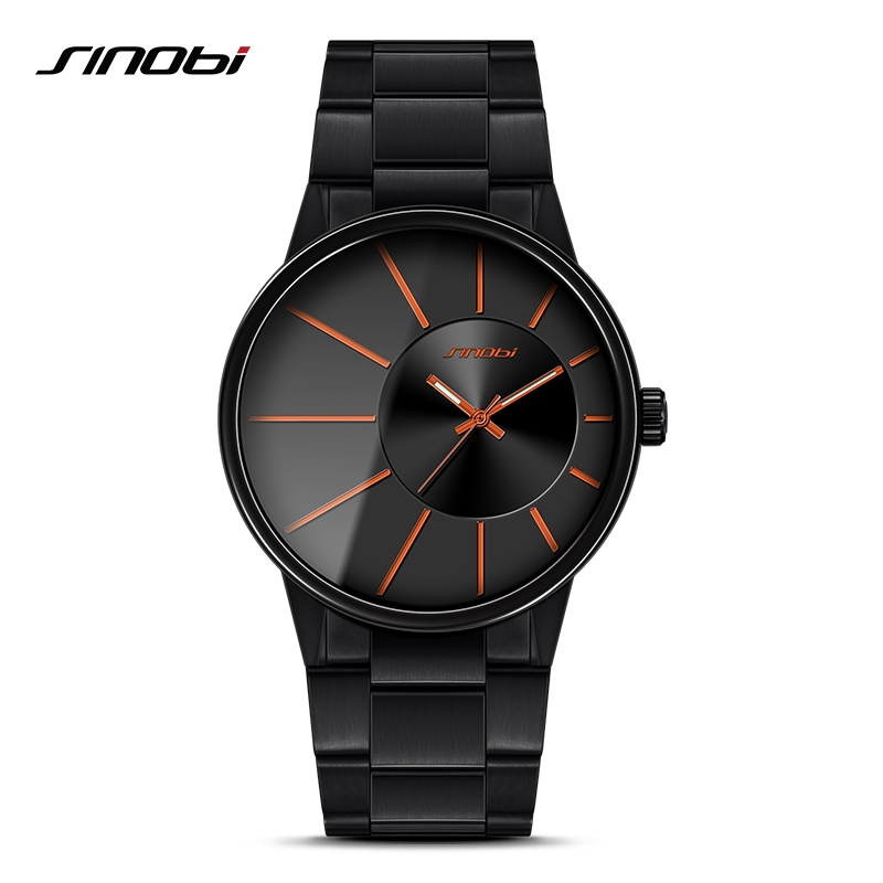 SINOBI New Fashion Men Wrist Watches Black Watchband Top Luxury Brand Male Golden Quartz Watch Clock Relogio Masculino sinobi double quartz wristwatch for leather watchband men s golden fashion wrist watch brand males clock relojes hombre 2016 new