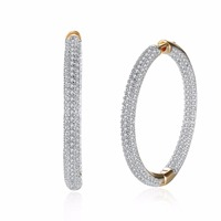MEEKCAT Top Quality Big Hoop Earrings Sparkling Inlay Zircon Earrings Fashion Women Wedding Jewelry Accessories Brincos