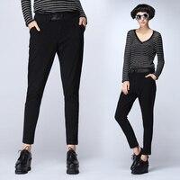 Slim Fit Pants For Women Brand Solid Casual Harem Pants Cotton Trousers Elastic Ladies Black Woman