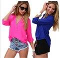 Camisas 2017 de Moda de nova primavera verão Mulheres temperamento senhora sexy com decote em v lazer longo-manga comprida pure color Chiffon camisas D-0607