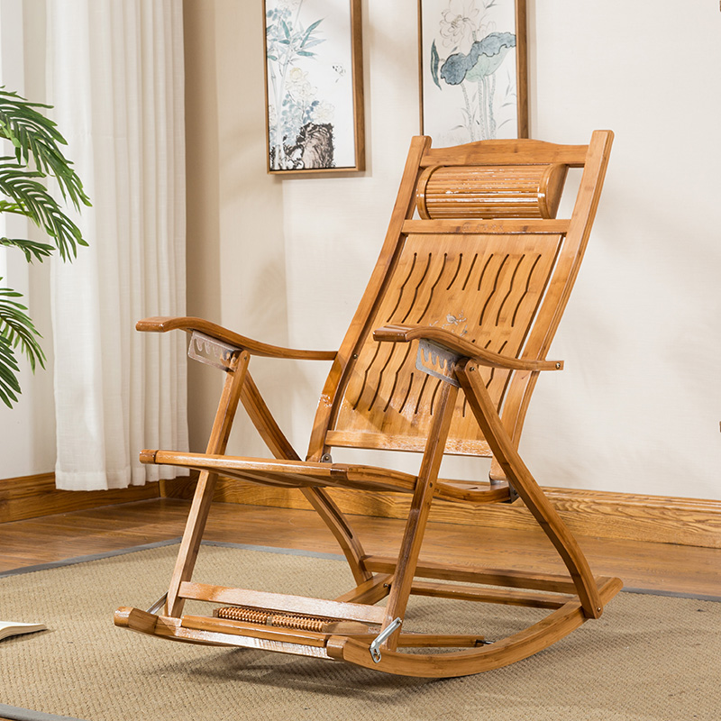 Bambú plegable reclinable silla reclinable interior/al aire libre ...