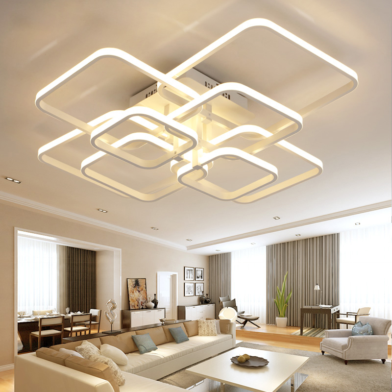 Modern led lamp with acrylic remote control for living room bedroom ceiling lamps free shipping in Chandeliers from Lights Lighting