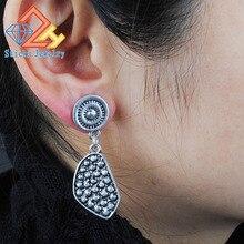 Antique Silver Bohemia Flower Retro Vintage Earrings For Women Lady 2015 New Jewelry Bijouterie