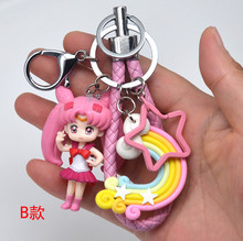 1 pedaço Bonito Janpanese Anime Sailor Moon Luna Cat Figura Keychain do Anel Chave Do Presente 7 Estilos(China)