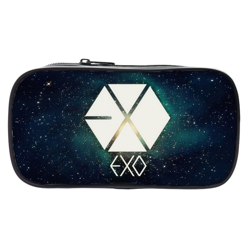 Fashion EXO Fans Pencil Coin Bag Large Capacity Pencil Printing Box Student Pen Case School Supplies for Boy Change Purse mini s size pencil bag pencil case pen stationery storage art school office home supplies transparent pens holder fashion gifts