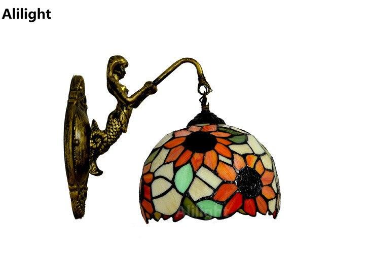 Sirène miroir applique murale de mode rustique mur lampe pour