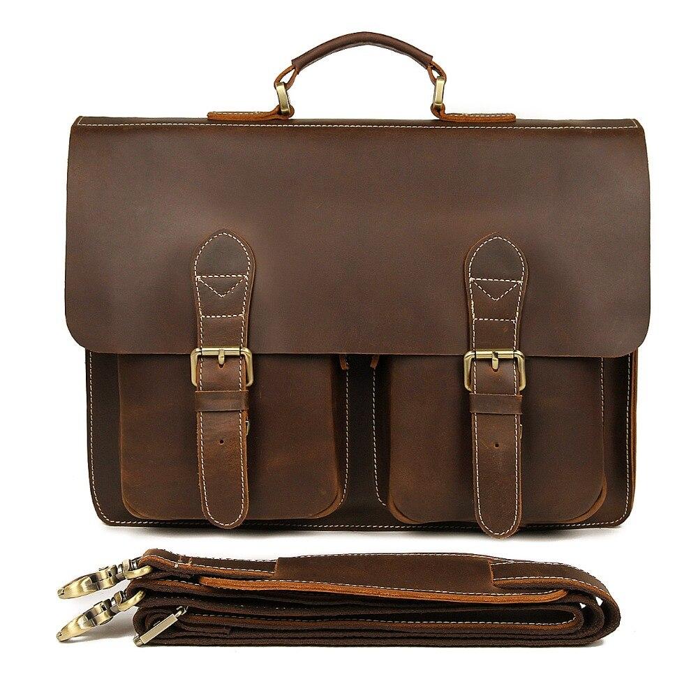 J.M.D Vintage Crazy Horse Leather Laptop Bag For Man Briefcases Men's Dispatch Shoulder Bag 7105B-1