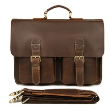 J.M.D Vintage Crazy Horse Leather Laptop Bag For Man Briefcases Mens Dispatch Shoulder 7105B-1