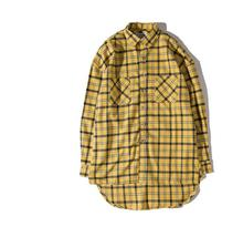 Sponge mice new high street fog extened fancy men shirts hawaiian shirt justin bieber men clothes tartan clothing yellow plaid