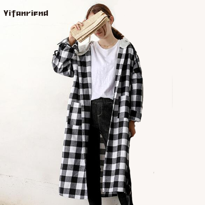 2018 Korean Preppy Plaid Blouse Women Hooded Blusas Shirt Mujer Casual Plus Size Female Autumn Hip Hop Outwear Long Coat Shirts