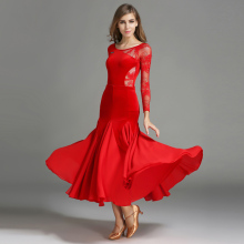 Ballroom Compettion Dance Dress Elegant Long Sleeve Lace Stage Waltz Tango Wear Women Ballroom Flamenco Dancing Dresses