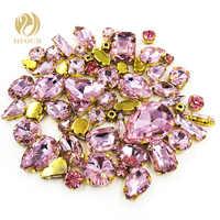 Freies verschiffen Gold basis mixed form rosa glas flatback nähen auf strass mit klaue kristall strass DIY Bekleidung/Schuhe /tasche