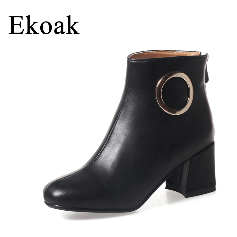 Ekoak New 2017 Fashion Women Boots Round Toe Autumn Ankle Boots Classic High Heels Platform Martin Boots Casual Shoes Woman front lace up casual ankle boots autumn vintage brown new booties flat genuine leather suede shoes round toe fall female fashion