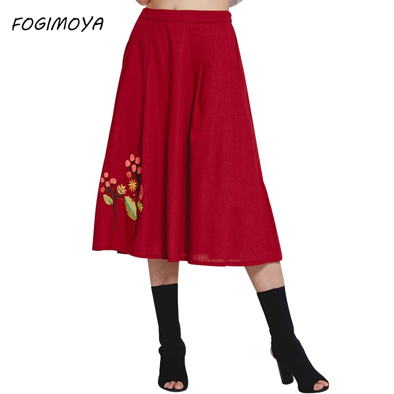 Fogimoya 2018 Cotton A Line Skirt Women Summer Embroidery Long A Line Skirts Women's Casual Wild Big Skirt Pleated Simple Skirts