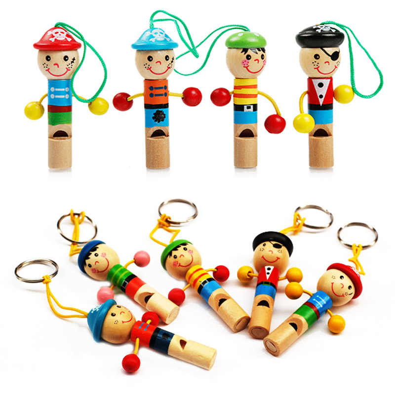 7cm Wooden Wind Instrument Musical Toy Whistling Cartoon Little Pirate Whistle Baby Learning Educational Toys for Children Gift