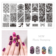 1PC New Style Plastic Nail Art Stamping Plate Transparent White Template Diverse Flower Lace Design LE