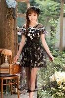 Princess sweet lolita Candy Rain Chiffon dress sweet floral black dress C22AB7125