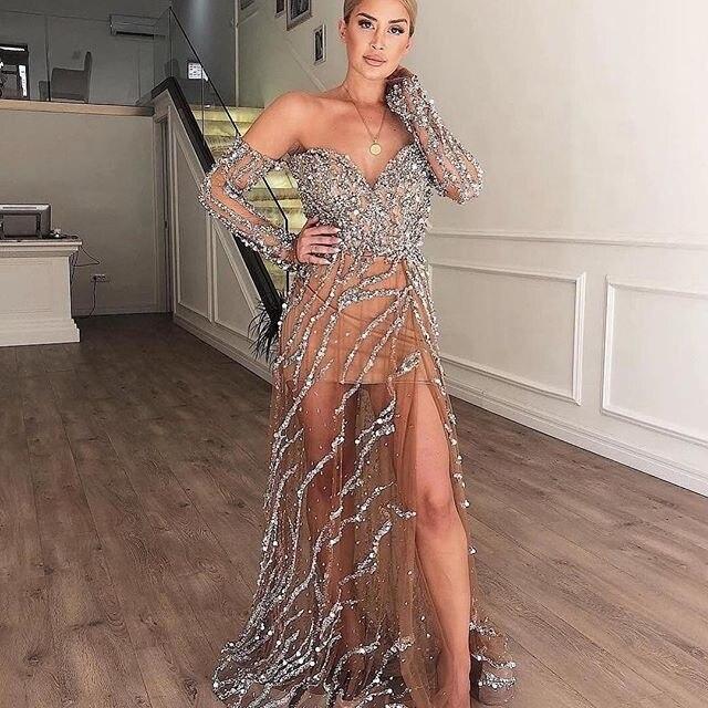 Manches longues hors épaule fille robe de bal 2019 voir à travers jupe perles paillettes robes de soirée dames fête porter sur mesure