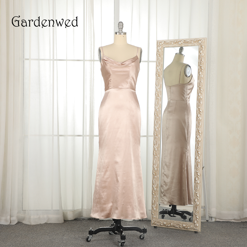 Gardenwed Sexy Champagne Evening Dress 2019 Spaghetti Straps Simple Woman Formal Gown Party Dresses