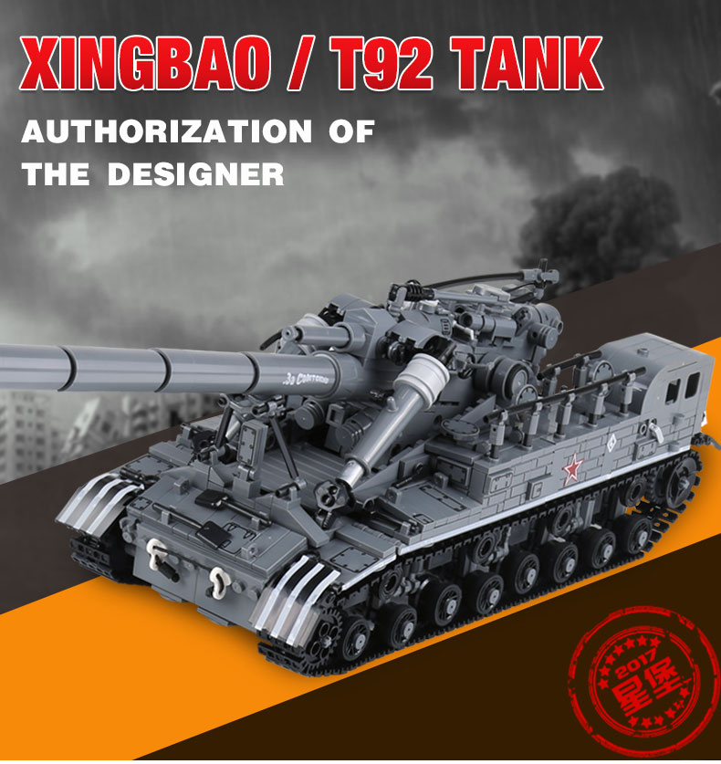 XingBao 06001 1389Pcs Creative MOC Military Series The T92 Tank Set Children Education Building Blocks Bricks Toys Model Gifts hot modern military t92 tank moc building block model bricks toys collection for adult children gifts