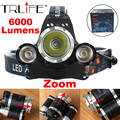 LED Headlight XM-L T6 6000LM Zoomable CREE LED Headlamp Headlight  Camping Lamp Head Light+Ac/CAR Charger+18650 Battery