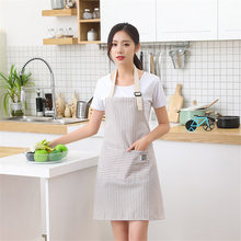 Fashion Simple SmallFresh Stripe Kitchen Antifoul Apron Pinafore Woman Cooking Accessories Cafe Restaurant Flower Shop Overall C(China)