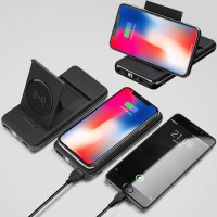 Phone QI wireless charging power bank 20000 mA fast chargingtreasure bracket digital display For iphone 8 x samsung s8 PowerBank