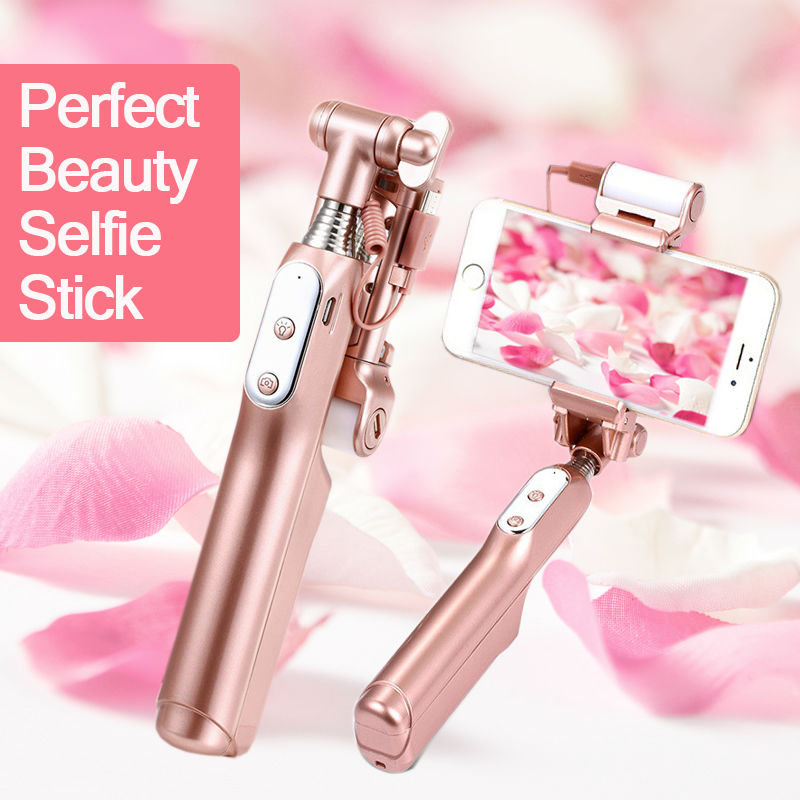 Fashion Selfie Stick with selfie light for night photo for iPhone 5,6,7,plus, SAMSUNG, for ISO, Andriod, blue tooth, wireless