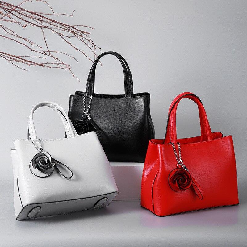 Red Handbags Women Genuine Leather Ladies Wedding bags With Flower Luxury Brand Female Shoulder Bag Office