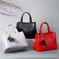 Red Handbags Women Genuine Leather Ladies Wedding bags With Flower Luxury Brand Female Shoulder Bag Office Bags For Women Totes