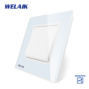 WELAIK Push Button 1Gang2Way Switch Manufacturer of Wall Light Switch Black White Crystal Glass Panel AC 110-250V A1712W/B