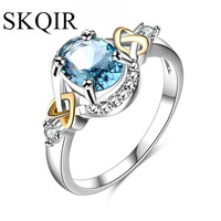 SKQIR 2017 Rings For Women Green Blue Stone Wedding Rings Bijoux Classic Female Jewelry Silver Color